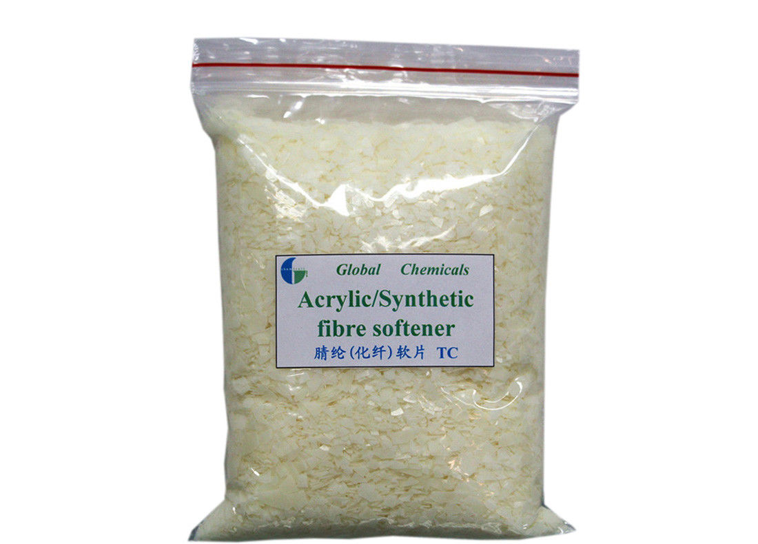 Acrylic / Synthetic Fibre Softener Flakes Hot Water Soluble With Good Softness